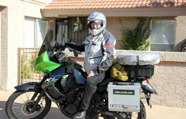 Rick leaving his parent's house on his motorcycle journey to Chile.