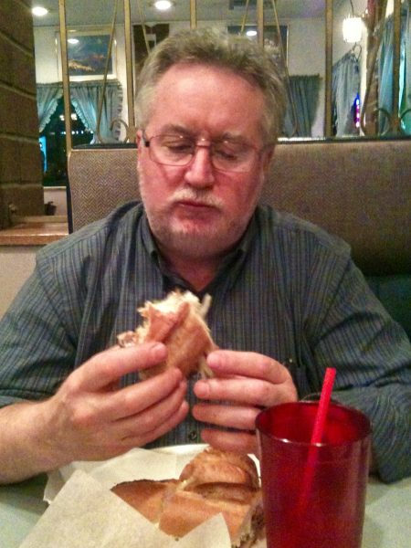 Dad enjoying his favorite sandwich since he was in college: the grinder from Acropolis in Kirkland.